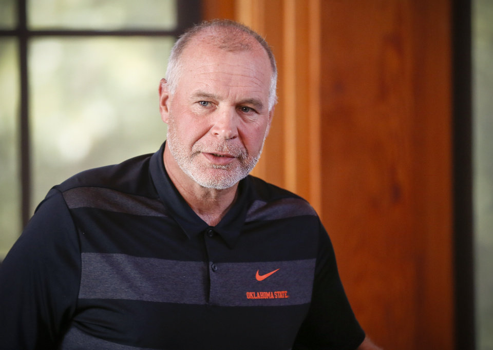 Photo - Oklahoma State defensive coordinator Jim Knowles after the OSU football media golf scramble at Karsten Creek Golf Club in Stillwater, Okla., Monday, July 29, 2019. [Nate Billings/The Oklahoman]