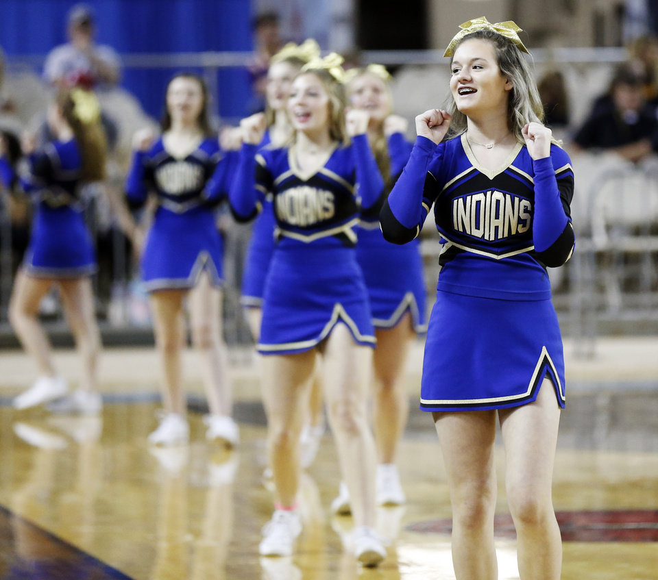 "Photo - Arapaho-Butler cheerleaders during a Class A boys high school basketball semifinal game in the state tournament between Stuart and Arapaho-Butler inside Jim Norick Arena, ""The Big House,"" at State Fair Park in Oklahoma City, Friday, March 6, 2020. [Nate Billings/The Oklahoman]"