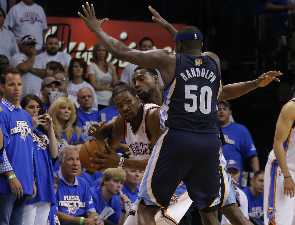 bbda7df172c0 Oklahoma City s Kevin Durant (35) gets pressured by Memphis  Tony Allen (9)  and Zach Randolph (50) during Game 2 in the second round of the NBA  playoffs ...