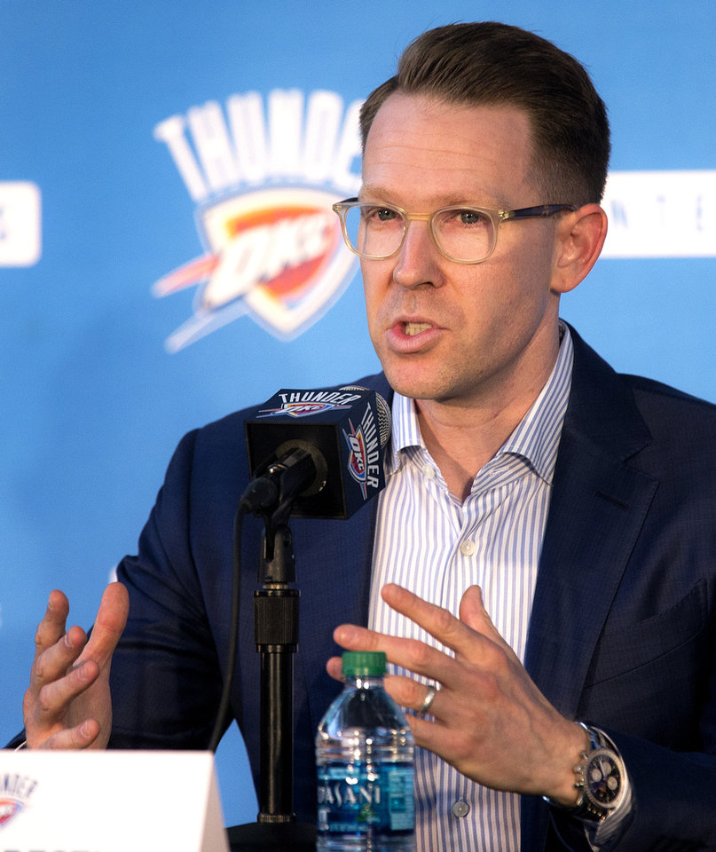 Photo - Oklahoma City Thunder general manager Sam Presti speaks during a press conference to announce Russell Westbrook's three year contract extension with the team at the Chesapeake Energy Arena in Oklahoma City, Okla. on Thursday, Aug. 4, 2016. Photo by Chris Landsberger, The Oklahoman