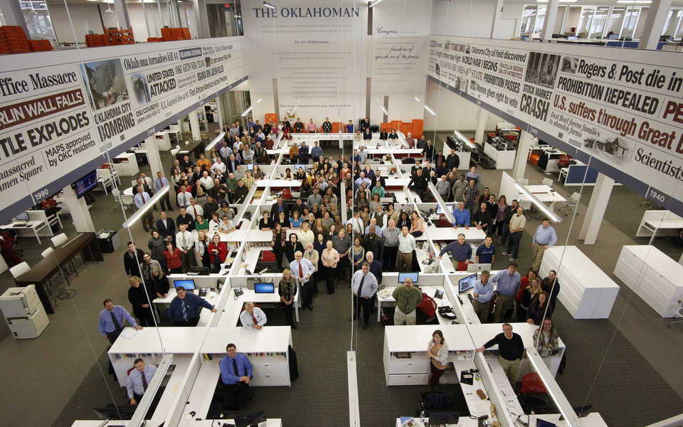 Photo - Employees of  The Oklahoman gather on the first floor of the company's new home at 100 W Main in the heart of downtown  Oklahoma City.  Photo by Doug Hoke, The Oklahoman  DOUG HOKE -  THE OKLAHOMAN
