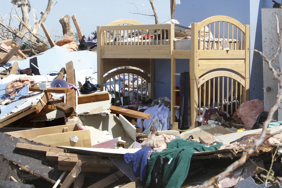 Photo - This is the home of Sydney Angle, who was killed by the May 20th tornado in Moore, OK. Thursday, May 23, 2013,  Photo by Paul Hellstern, The Oklahoman