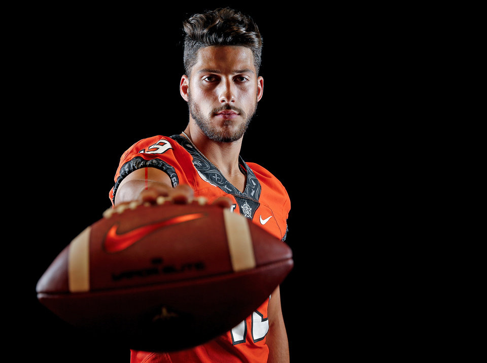 Photo - OSU's Matt Ammendola poses for a photo during the Oklahoma State Cowboys football media days at Gallagher-Iba Arena in Stillwater, Okla., Saturday, Aug. 3, 2019. [Sarah Phipps/The Oklahoman]