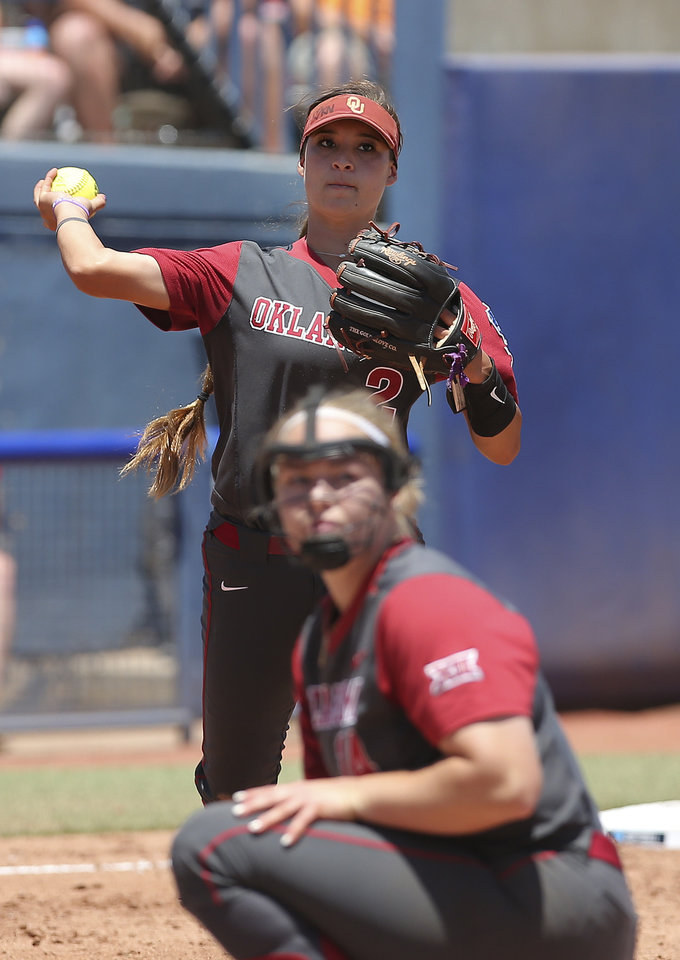 Photo - Oklahoma's Sydney Romero (2) throws to first during a Women's College World Series game between the University of Oklahoma (OU) and Washington at USA Softball Hall of Fame Stadium in Oklahoma City,  Sunday, June 3, 2018.  Washington won 3-0. Photo by Sarah Phipps, The Oklahoman