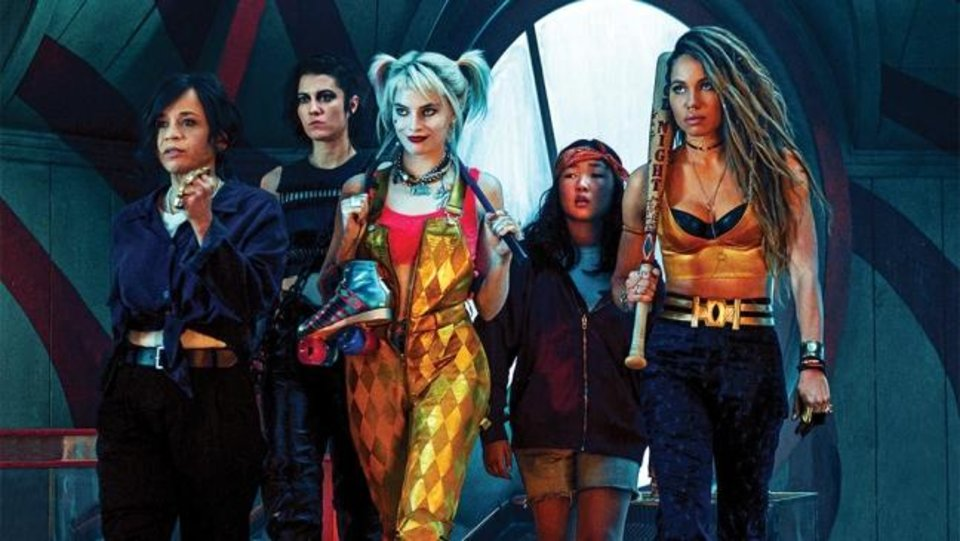 Photo -  From left, Rosie Perez, Mary Elizabeth Winstead, Margot Robbie, Ella Jay Basco and Jurnee Smollett-Bell star in