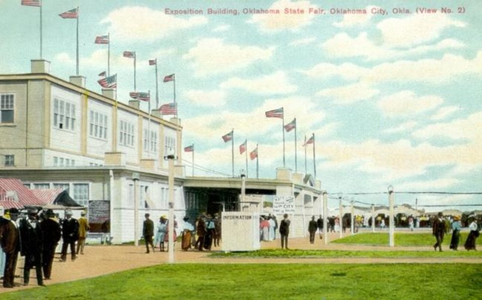 Photo -  Postcard of the Exposition Building during the State Fair of Oklahoma in Oklahoma City, published by Sadler & Pennington, c. 1909 [Oklahoma Historical Society Photograph Collection]