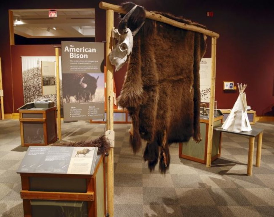 "Photo -  Touch items like a bison hide are included in ""Ancient. Massive. Wild – The Bison Exhibit"" at the National Cowboy & Western Heritage Museum in Oklahoma City. [Nate Billings/The Oklahoman]"