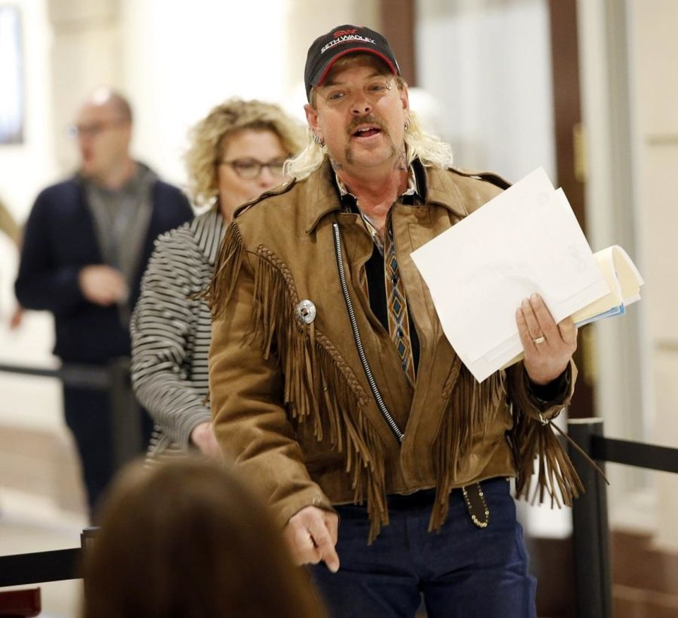 Photo - Joe Exotic files to run for governor as a Libertarian candidate at the state Capitol in Oklahoma City, Monday, April 9, 2018. [Nate Billings/The Oklahoman Archives]