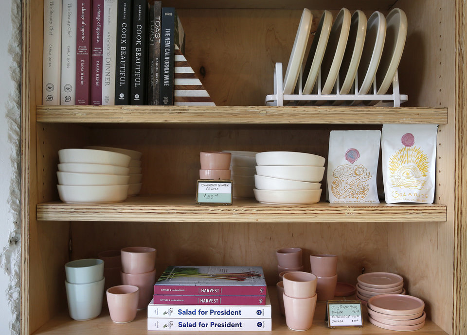 Photo -  Gifts for sale at The Kitchen at Commonplace Books in Oklahoma City. [Photo by Sarah Phipps, The Oklahoman]