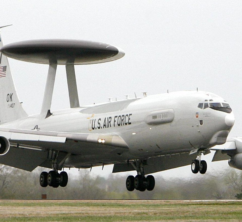 Photo -                    An E-3 Sentry AWACS airplane lands at Tinker Air Force Base.                     By Photo by Jim Beckel, The Oklahoman archive.