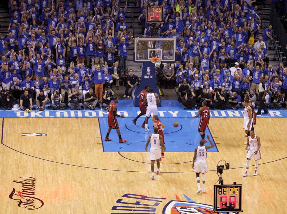 Photo - The crowd reacts after a Kevin Durant basket during Game 1 of the NBA Finals between the Oklahoma City Thunder and the Miami Heat at Chesapeake Energy Arena in Oklahoma City, Tuesday, June 12, 2012. Photo by Bryan Terry, The Oklahoman