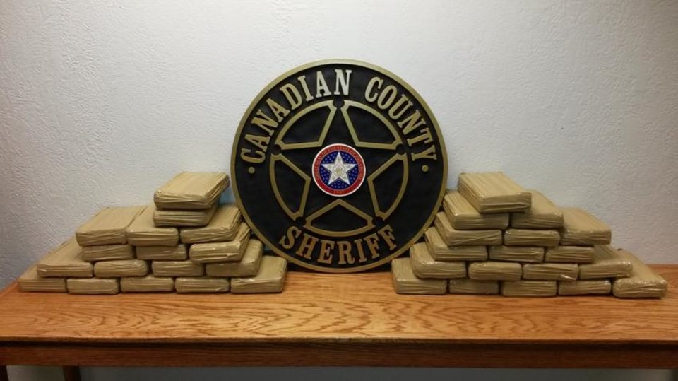 Photo -  Nearly 77 pounds of cocaine were seized during a traffic stop Sunday on Interstate 40.  Photo provided by Canadian County sheriff's office    -  Canadian County Sheriff's office