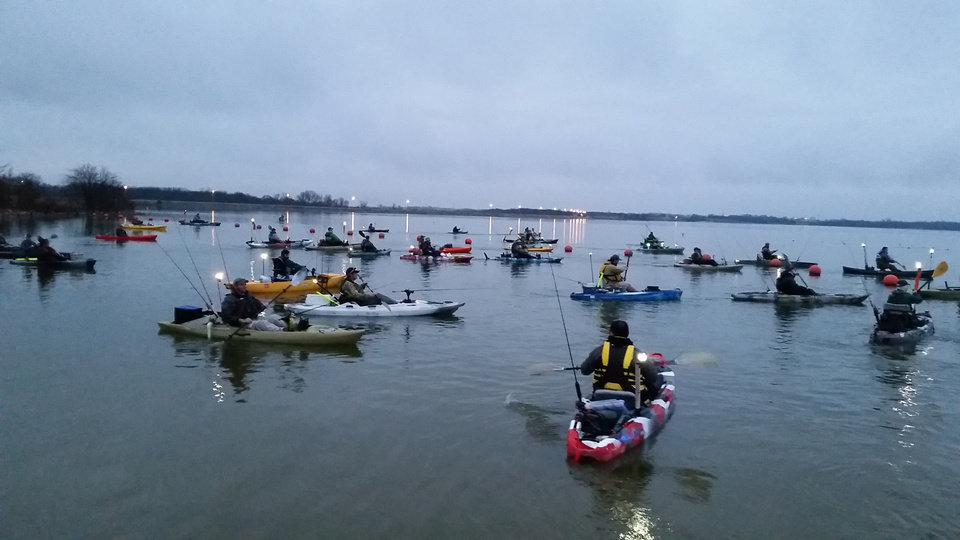 Photo -  A shotgun start before a kayak bass tournament on Lake Konawa. [PHOTO PROVIDED BY OKLAHOMA KAYAK ANGLERS]