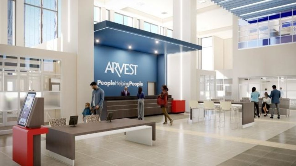 Photo -  Renovations to the two-story lobby at Arvest Tower will include a lobby makeover from darker earthtones to a white and blue color scheme. [FSB]