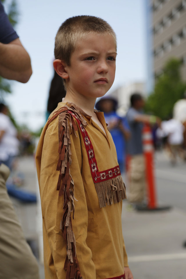 Photo - In the parade for the 2019 Red Earth Festival in downtown Oklahoma City, Oklahoma Saturday, June 8, 2019.  [Paxson Haws/The Oklahoman]
