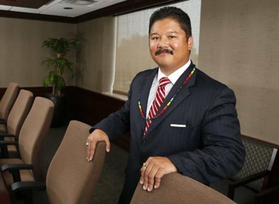 Photo -  Before joining the Absentee Shawnee Tribe, Victor Flores worked some two decades as a finance executive for area hospitals. [NATE BILLINGS/THE OKLAHOMAN]
