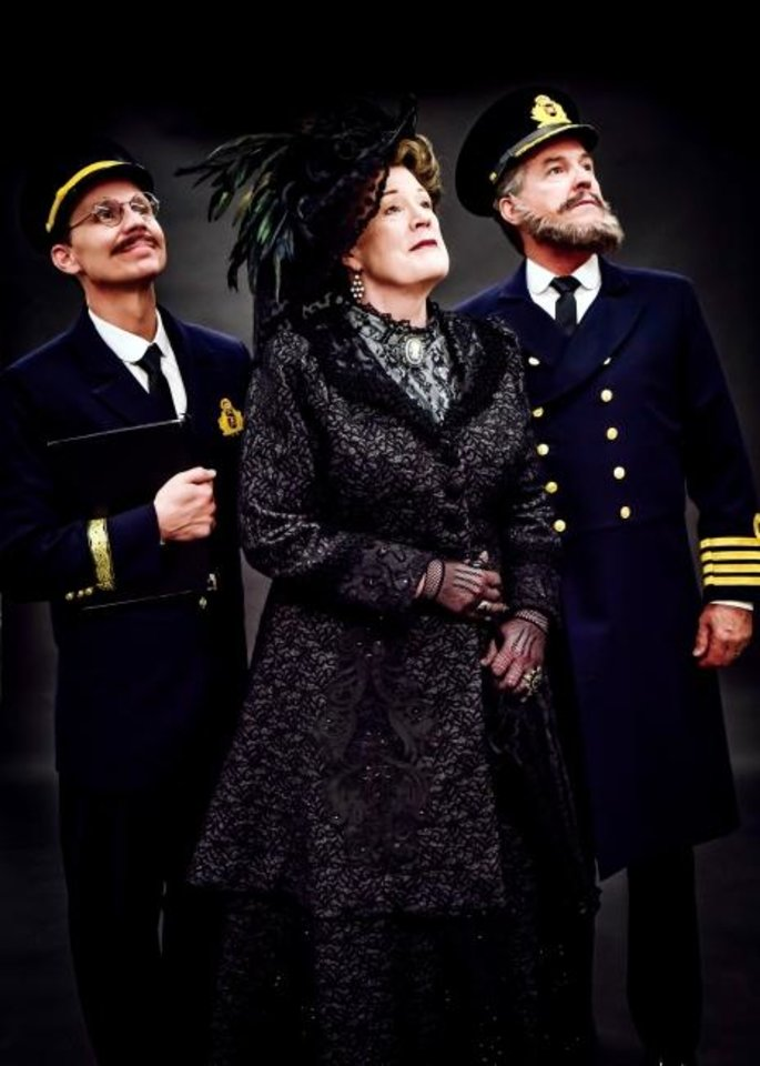 Photo -  Charlie Monnot stars as Harold Bride, Barbara Fox DeMaio as Ida Straus and Jeffrey Ambrosini as Captain E.J. Smith in Lyric Theatre's