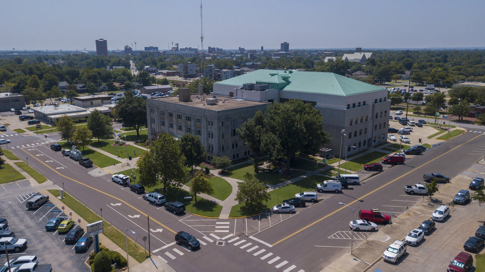 Photo - Aerial image of the Cleveland County Courthouse. [Dave Morrris/The Oklahoman]