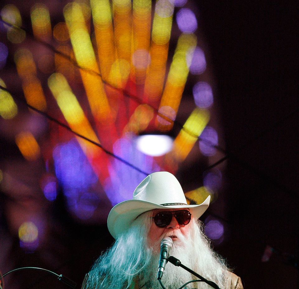 Photo - Lawton native Leon Russell performed nearly 90 minutes of non-stop hits for an enthusiastic audience at the Chesapeake Energy Stage at the Oklahoma State Fair on Sep. 16, 2011. The Rock and Roll Hall of Famer's performance was thought to be his first showcase at the fair. [Photo by Jim Beckel, The Oklahoman]