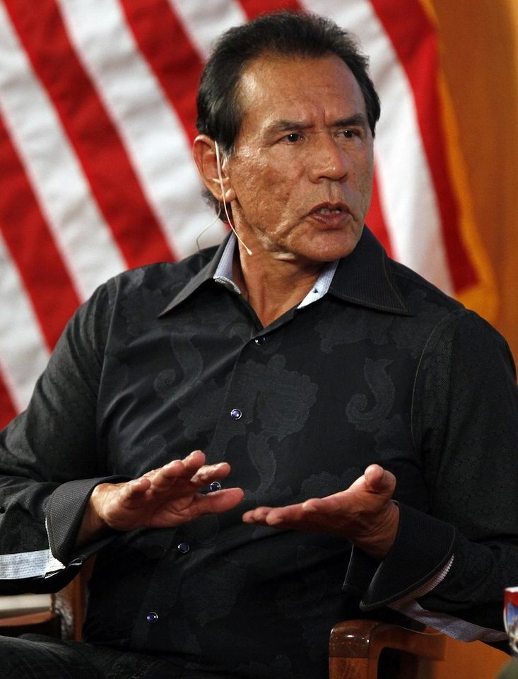 Photo - Actor Wes Studi speaks at the Oklahoma History Center in Oklahoma City, Monday, June 11, 2012. [The Oklahoman Archives]
