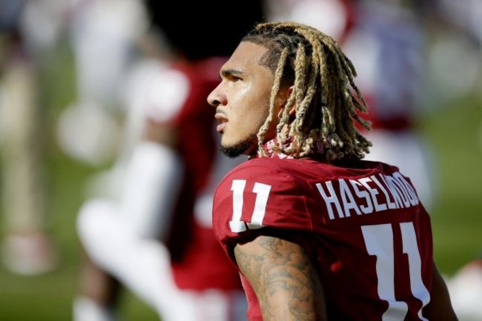 "Photo -  OU receiver Jadon Haselwood suffered his knee injury in April in what coach Lincoln Riley called a ""freak accident"" at home that wasn't related to a football workout. [Bryan Terry/The Oklahoman]"