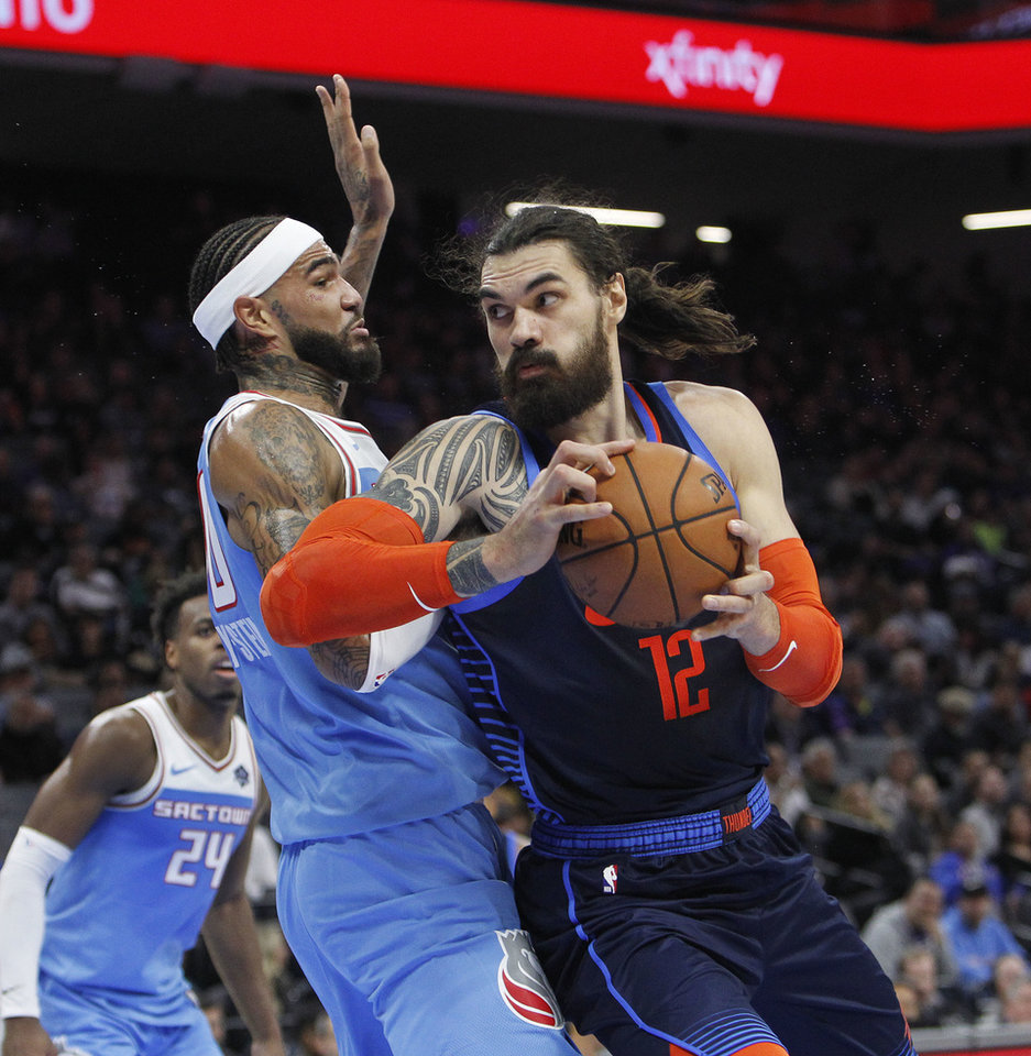 lowest price 34ee6 b123f Oklahoma City Thunder center Steven Adams (12) battles for position against Sacramento  Kings center Willie Cauley-Stein (00) during the first half of an NBA ...