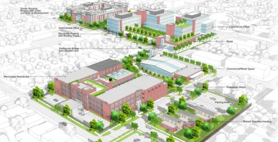 Photo -  Far Wespen, a New York investment group, is proposing a mix of housing and retail in the old Roosevelt school that would connect with a mix of housing, retail and offices that group is planning to development to the east on land acquied by Far Wespen over the past several years. [PROVIDED]