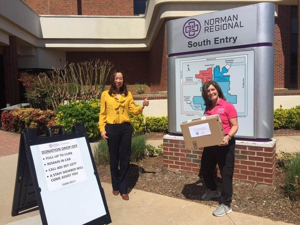 Photo -  Tingting Gu from Share & Grow helps delivers PPE to Norman Regional Hospital. [PROVIDED]