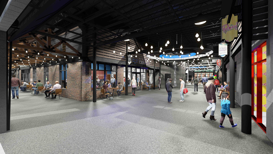 Photo -  Roxy's Ice Cream is among the tenants that will anchor The Railyard, a redevelopment of a decades-old lumberyard along the BNSF Railway tracks west of Broadway in Edmond. Plans call for the venue to be easily converted to indoor or outdoor space based on the weather. [Rendering provided by Small Architects]