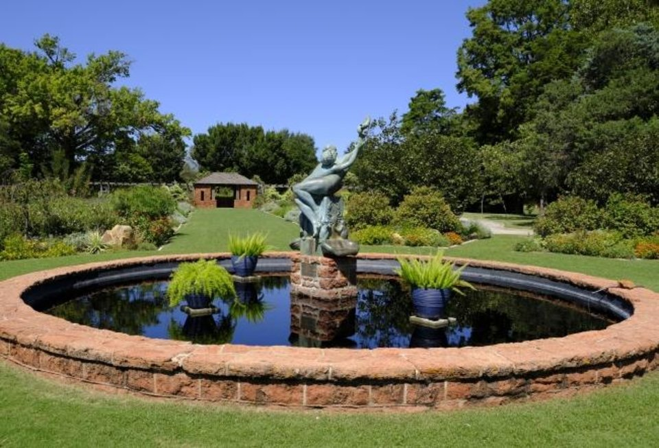 Photo -  Water feature at Will Rogers Gardens. [DOUG HOKE/THE OKLAHOMAN]