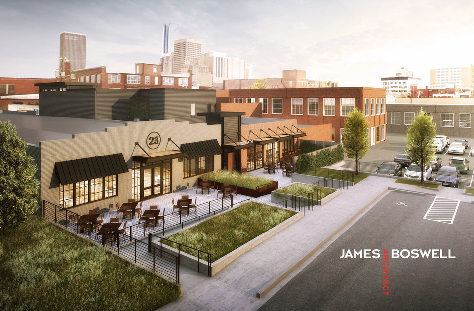 Photo -  Basil Rayan's 6th Street Marketplace will include a courtyard, parking and other improvements similar to those already being built next door by Tribune Capital as it develops Central Exchange. [Rendering by James Boswell Architect]