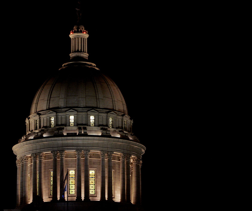 Photo - The Oklahoma Capitol dome at night. The Oklahoman Archives photo