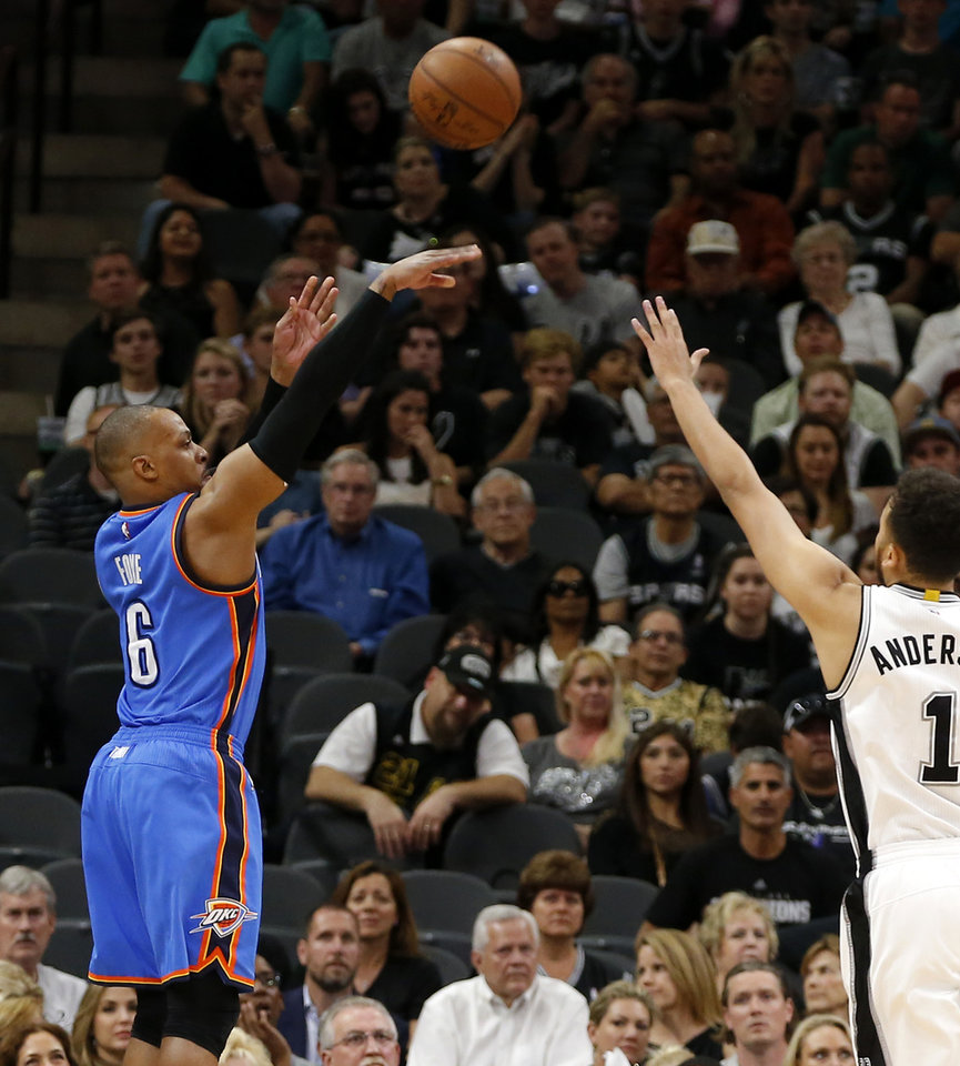 Photo - Oklahoma City's Randy Foye (6) shoots a basket over San Antonio's Kyle Anderson (1) during Game 5 of the second-round series between the Oklahoma City Thunder and the San Antonio Spurs in the NBA playoffs at the AT&T Center in San Antonio, Tuesday, May 10, 2016. Oklahoma City won 95-91. Photo by Bryan Terry, The Oklahoman