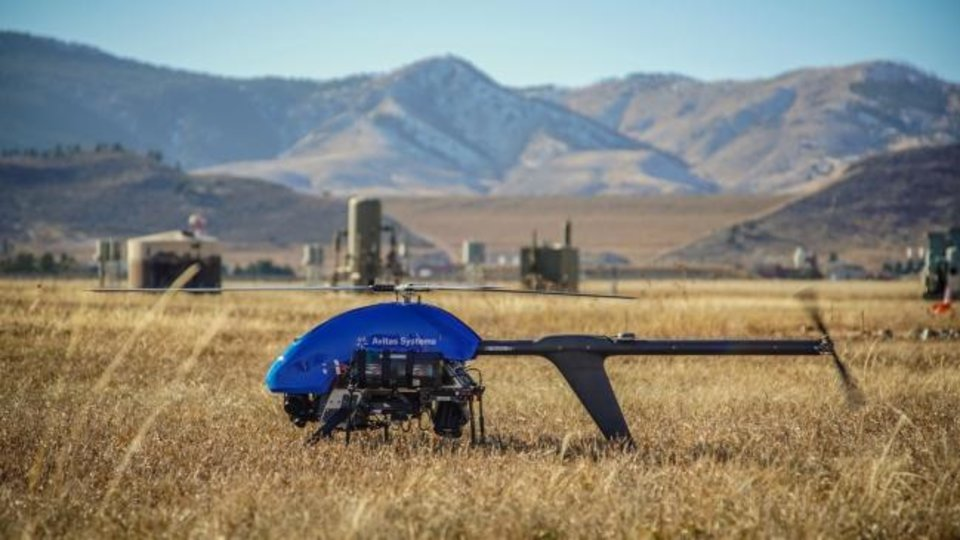 Photo -  A drone used by Avitas Systems to inventory and analyze well production equipment prepares to fly. [PROVIDED BY BAKER HUGHES]