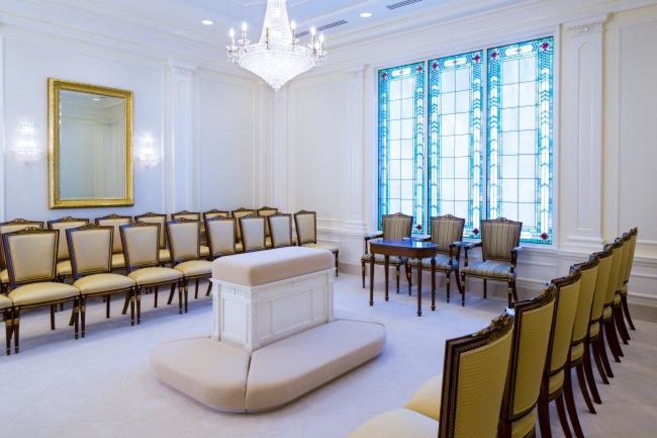 Photo -  The Sealing Room inside the new Oklahoma City temple for The Church of Jesus Christ of Latter-Day Saints in Oklahoma City, Okla.   Photo Provided