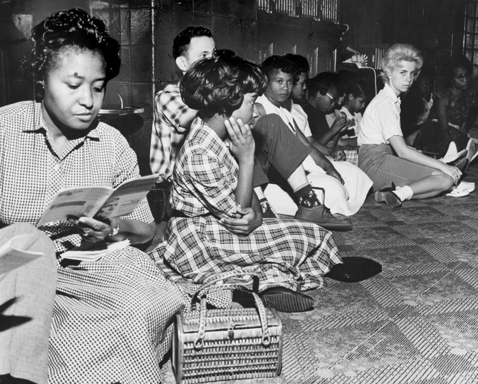Photo -  Some of the sit-ins led by Clara Luper included black and white protesters, as shown in this 1961 photo taken at the Skirvin Hotel. [The Oklahoman Archives]