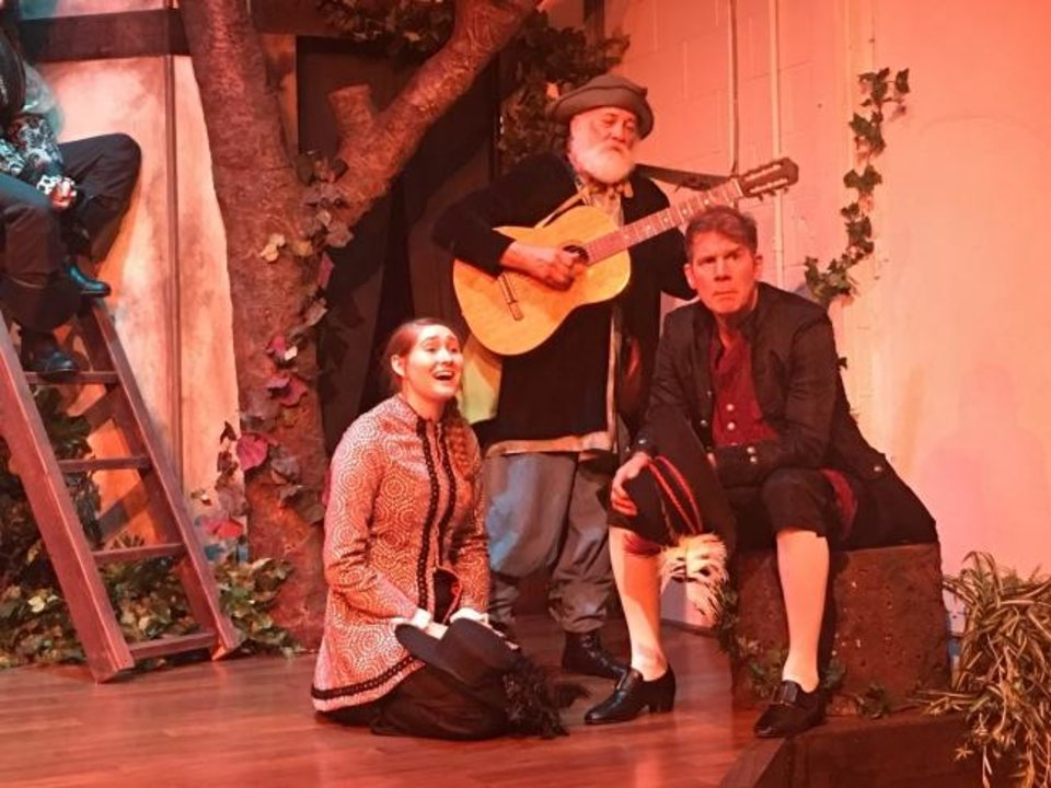 Photo -  From left, Kayla Booth, Stephen Hilton and Robert Shaun Kilburn appear in a scene from Oklahoma Shakespeare's new production of