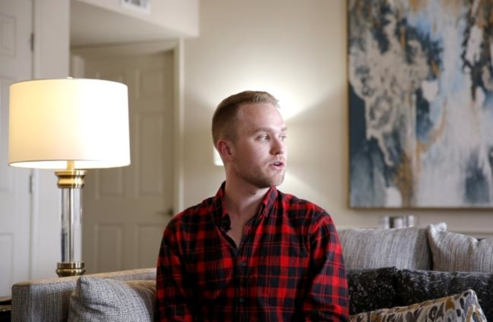 Photo - Christian Council speaks during an interview at his home in Oklahoma City, Thursday, July 23, 2020. Council was attacked outside his apartment last month. Photo by Sarah Phipps, The Oklahoman
