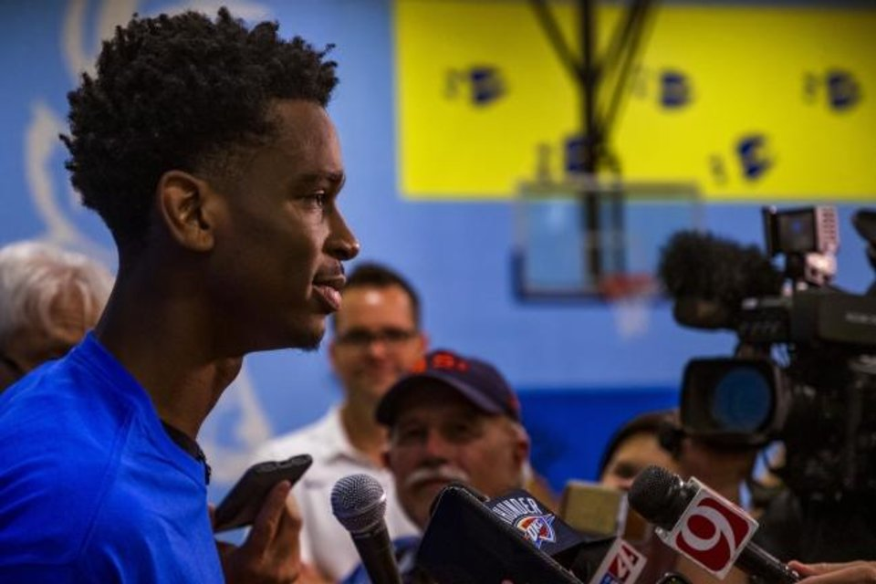 Photo -  Shai Gilgeous-Alexander enters his first season with the Thunder after a promising rookie season with the Clippers.  [Chris Landsberger/The Oklahoman]