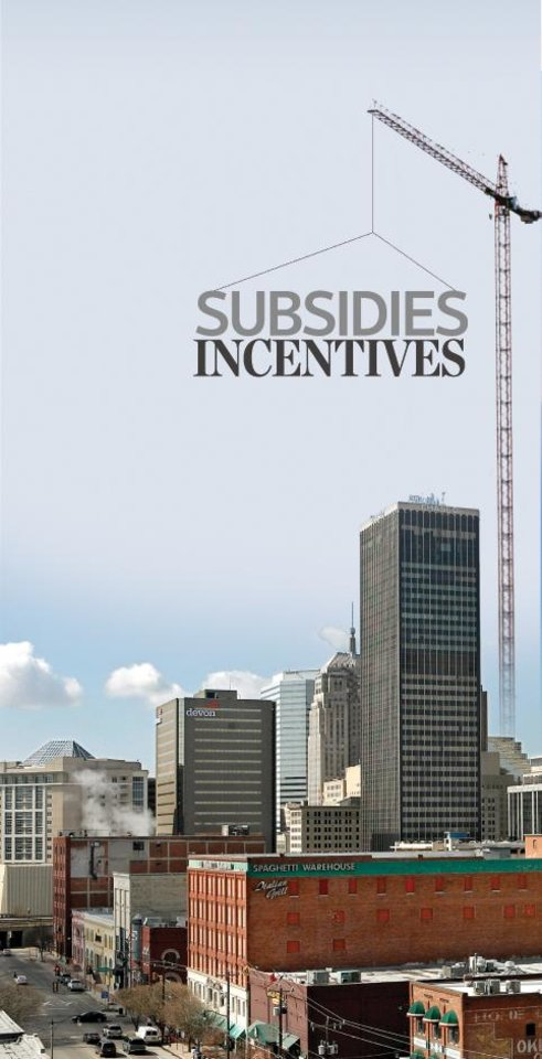 Photo - SUBSIDIES INCENTIVES graphic / illustration WITH PHOTO: DOWNTOWN: With Bricktown in foreground, the Oklahoma City skyline is pictured on a sunny afternoon on Friday, March 7, 2008.  BY JIM BECKEL, THE OKLAHOMAN
