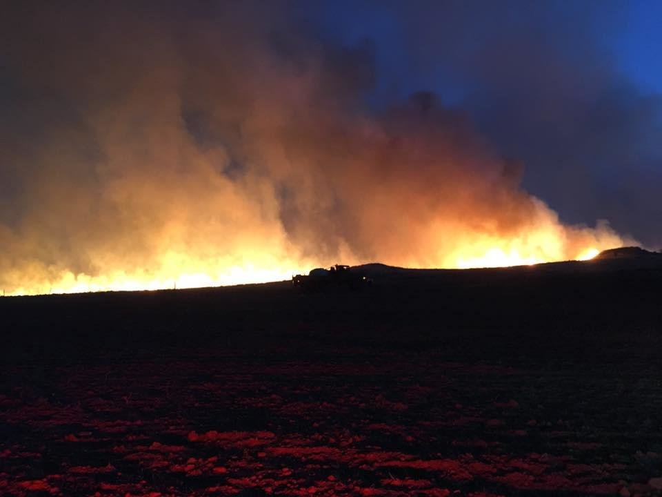 Photo - Wildfire burning Thursday in northwest Oklahoma.