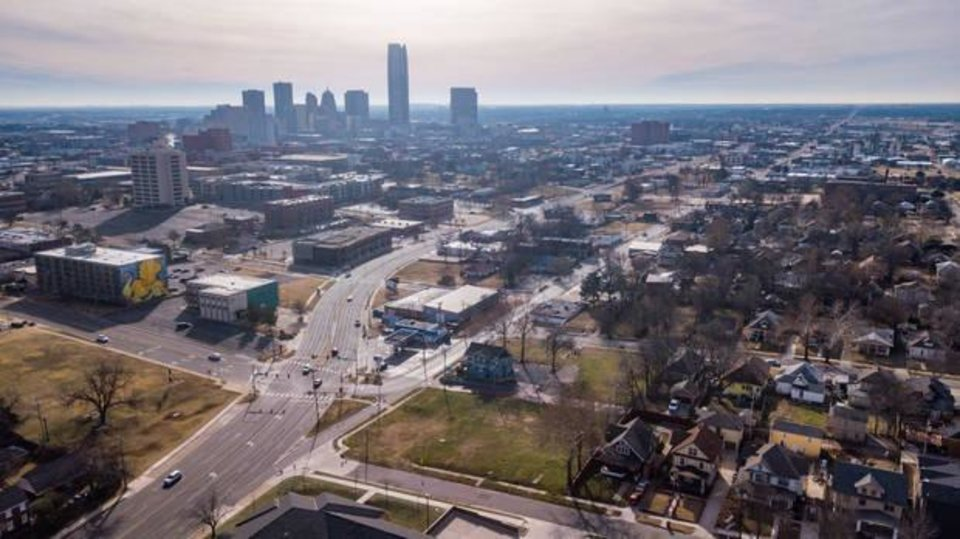 Photo - Drone image looking south/southeast towards downtown Oklahoma City above the NW 13th/Western/Classen interchange and the potential future site of an OnCue.