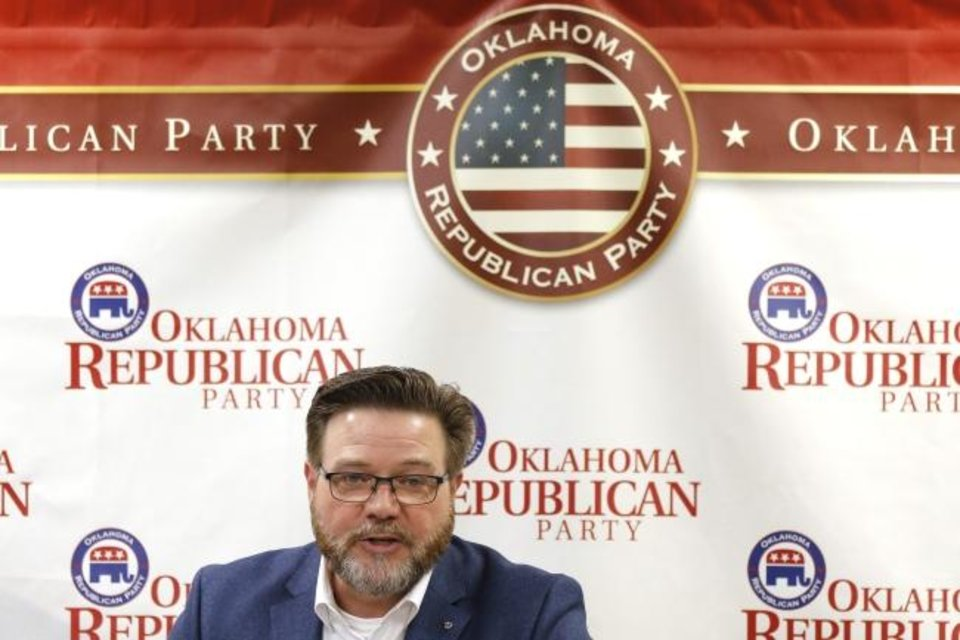 Photo -  David McLain, Chairman of the Oklahoma Republican Party, talks Monday about President Donald Trump's rally in Tulsa this weekend. [Doug Hoke/The Oklahoman]