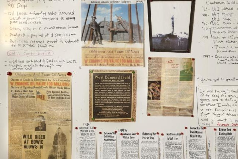 Photo -  Timelines, bullet points and newspaper clips on Kim Gutowsky-van der Wal's wall of history about her grandfather oil man