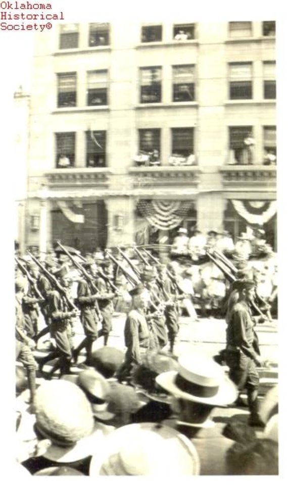 Photo -  In Oklahoma City, soldiers return home from World War I. [Photo courtesy of the Oklahoma Historical Society]