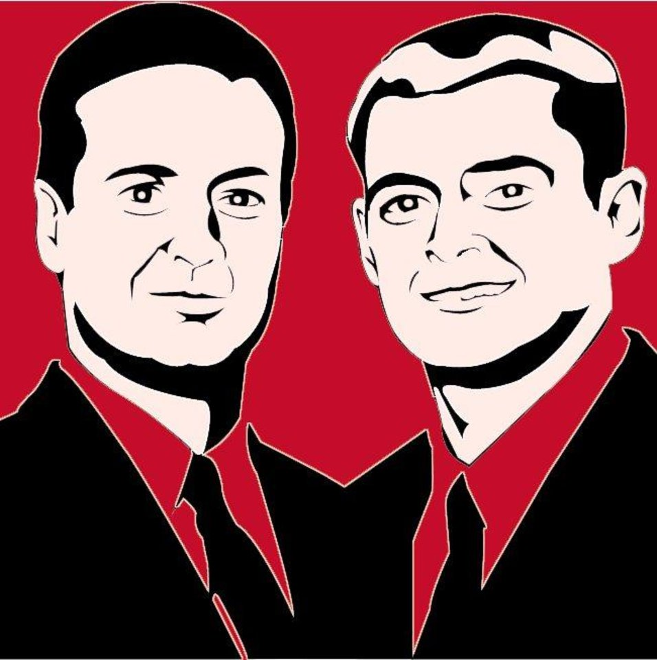 Photo - ART DRAWING: OU football coach Bob Stoops, 40, and quarterback Josh Heupel, 22, represent the new wave (shown in modern artwork)