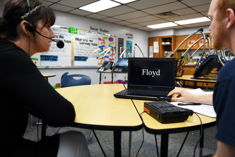 Photo - Researcher Nathan Horton interviewed Shannon Kraft, a 6th grade language arts and world studies teacher, about Oklahoma dialects at Stillwater Middle School on Thursday March 26, 2015. Photo by Tyler Drabek, for The Oklahoman