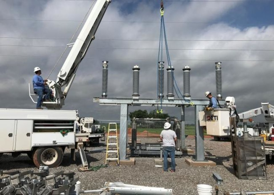 Photo -  Contractors work to build a substation that is part of Western Farmers Electric Cooperative's transmission system that delivers power to another cooperative and its customers. [PROVIDED BY WESTERN FARMERS ELECTRIC COOPERATIVE]