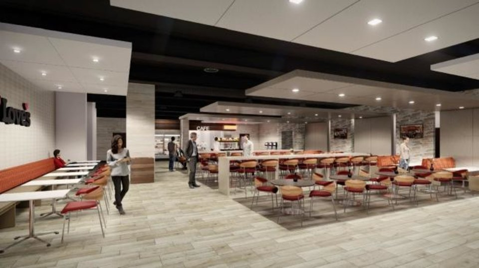 Photo -  The new Love's event center will include a cafe for employees. [RENDERING BY FSB]