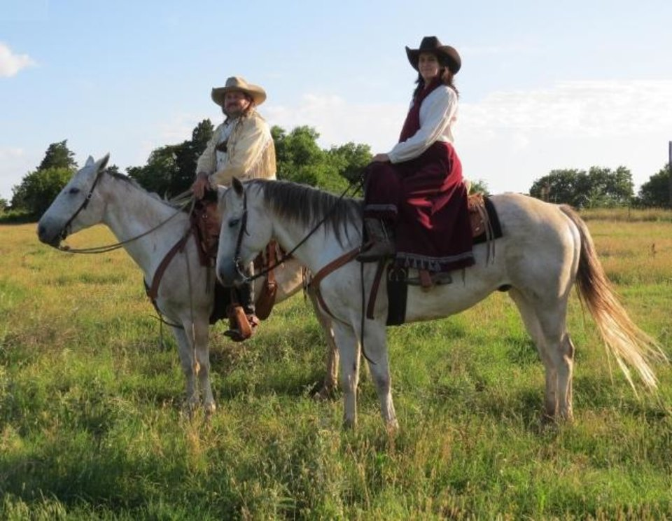 Photo -  Kevin and Alyce Webb will appear as Pawnee Bill and May Lillie in this year's Pawnee Bill Wild West Show Friday and Saturday at the Pawnee Bill Ranch. [Oklahoma Historical Society]